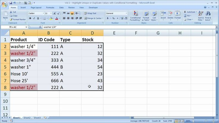 How to highlight unique or duplicate values in Excel