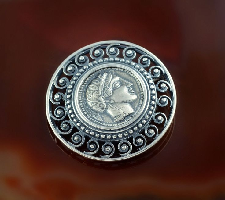 Athena spiral silver pendant, Athena pendant, ancient coin pendant, coin pendant, greek coin pendant, greek coin brooch, coin brooch by GreekGoddessJewelry on Etsy