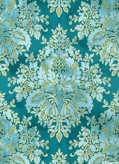 eQuilter Tuscan Sunflowers - Diamond Damask - Turquoise/Gold