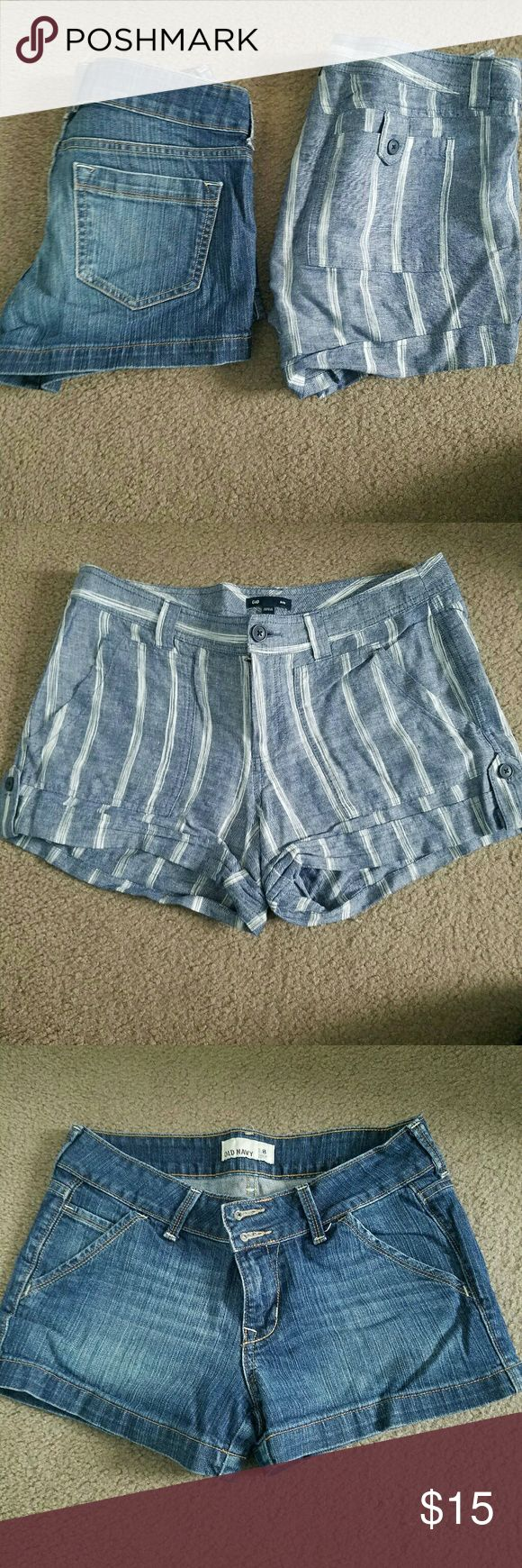 Bundle of 2 pairs of shorts 1 pair of Old Navy jean shorts size 8 gently worn. 1 pair of Gap linen shorts jean blue  with white stripes down them. Size  6 but fit like size 8 gently worn as well. Both in great condition. Old Navy Jeans