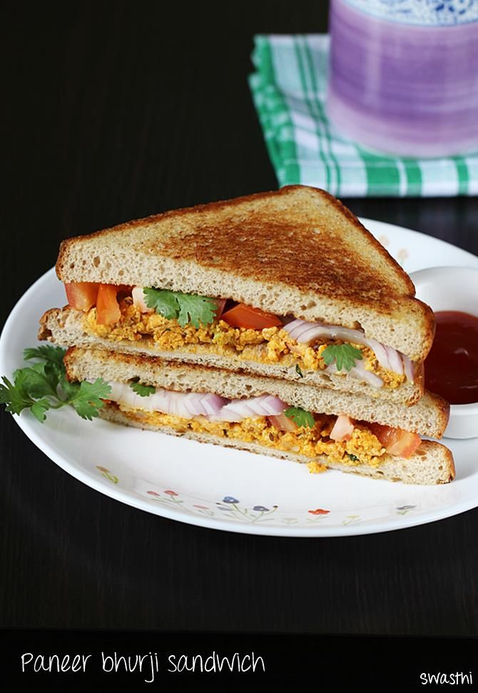 Paneer bhurji sandwich made in 10 mins on a tawa. It is super quick to make for breakfast or snack and can also be carried to work or school in a box.