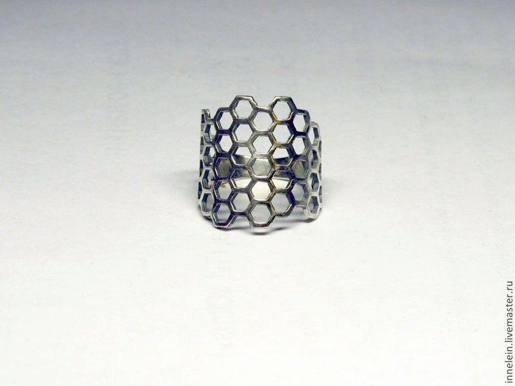 "Серебряное кольцо ""Соты"". Handmade."