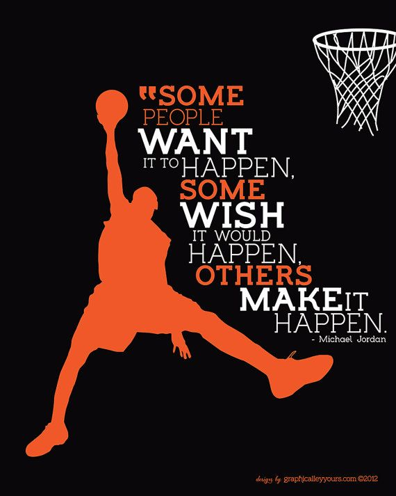 MICHAEL JORDAN 'Make It Happen' Quote INSTANT DOWNLOAD by GraphicalleyYours on Etsy