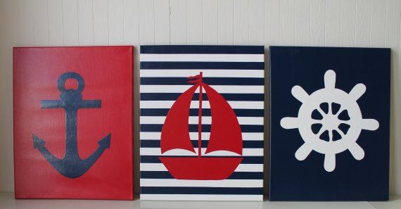 Nautical Nursery Decor Nautical Painting Anchor Nursery Sailboat Nursery Ship' Wheel Red Navy Blue Acrylic Painting 16x20 Nursery Decor