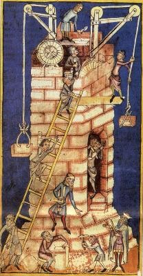 """Der """"Turmbau von Babel"""" aus einer Chronik von 1340/50 illustriert die mittelalterlichen Turmbau-Techniken, die auch beim Stephansdom zum Einsatz kamen. Foto: Zentralbibliothek Zürich"""