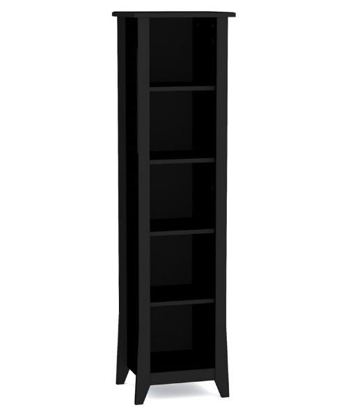 Megalak Finition Tuxedo 60 in. Slim Bookcase - Black - Media Storage at Hayneedle Classic tapered feet with slim design, ideal in hallway Crafted of composition wood elements Tuxedo black lacquer 5 open cubby spaces plus top for display Dimensions: 15.75W x 13.75D x 60H inches