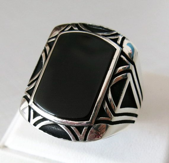 <b>Handmade Natural</b> Black Agate Stone 925 Sterling Silver Men's ...