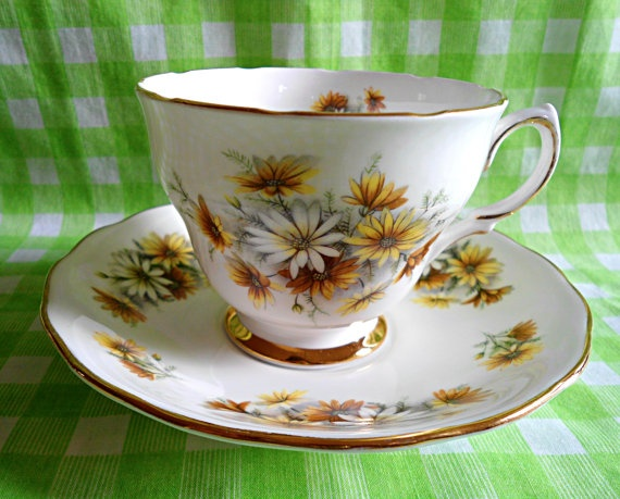 Vintage Colclough Yellow Daisies Teacup & Saucer by RoyalRummage, $20.00