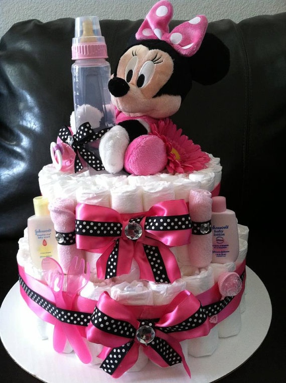 Minie Mouse Hot Pink & Black 2 Tier Diaper .... somehow make it into a 1 year old appropriate cake....