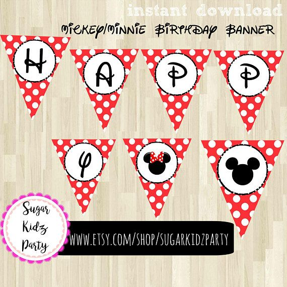 disney party, mickey party, micke birthday, banner, printable banner, mickey, minnie, clubhouse, party banner, birthday banner, mickey party