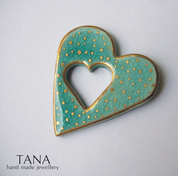Ceramic brooch, double turquoise heart and gold rain. <3