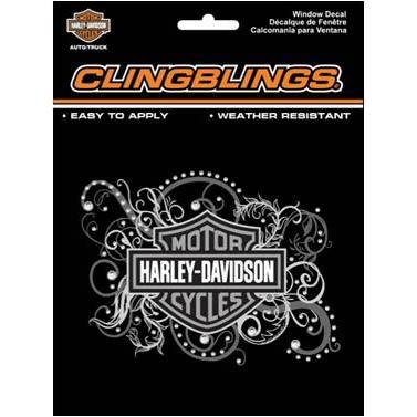 Harley-Davidson Black & Silver Window Cling Bling- Decal