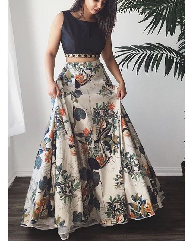 Floral skirt and black silk blouse