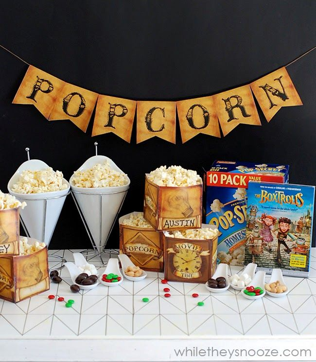 While They Snooze: The Boxtrolls Movie Night with Free Popcarn Box Printable