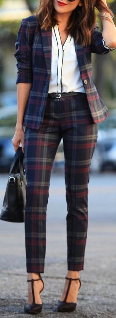 Here is one example of a modern pant suit worn by women today with a very vintage plaid print. Pant suits have not gone out of style completely since the 1970's, they are one of those classic items that women love to wear to work or dressy occasions. Now days pant suits come in all kinds of style variations, colors/prints and fabrics. 3/31/16