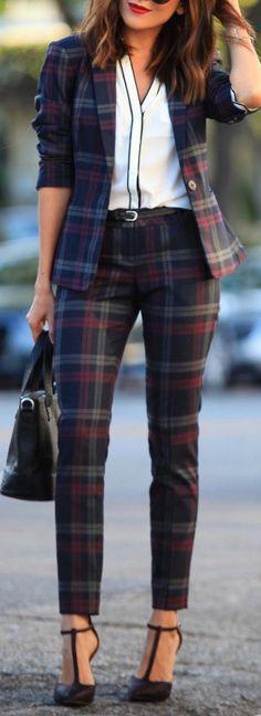 Blouse: Express Pocket Shirt | Pants: Berry Plaid Pant | Blazer: Berry Plaid Jacket