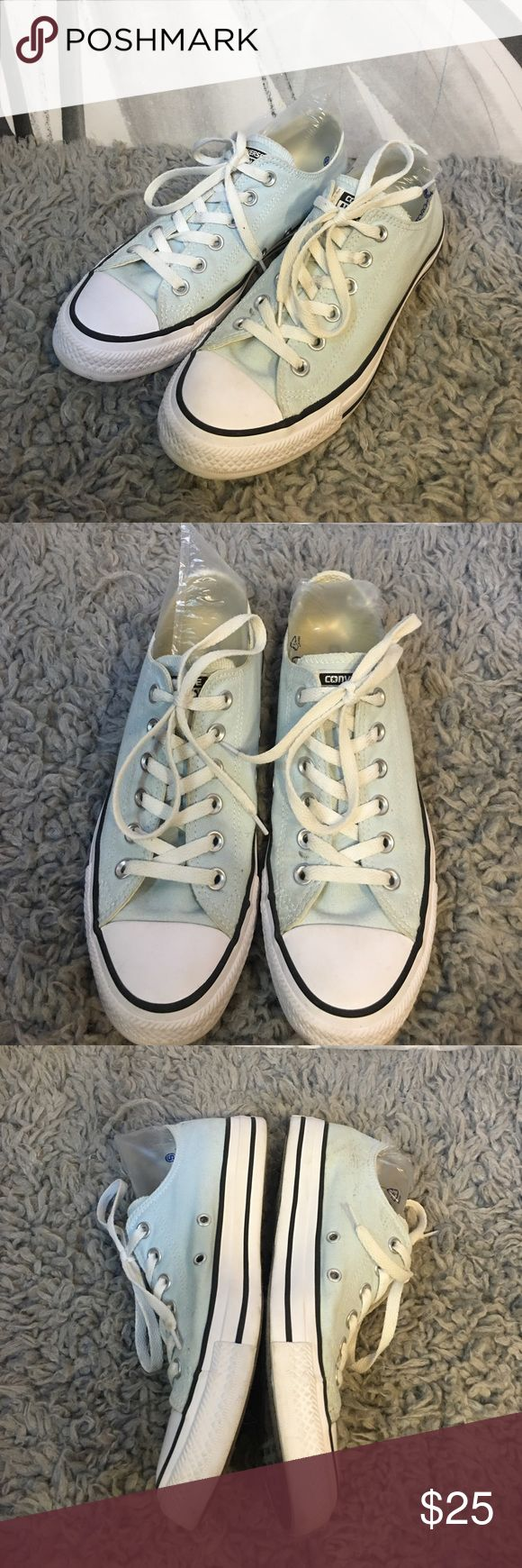 Mint green Converse low tops Mint Chuck Taylor converse low tops in good condition with wear on soles and marks on fabric as seen in pictures. Size 9 women's, 7 men's Converse Shoes