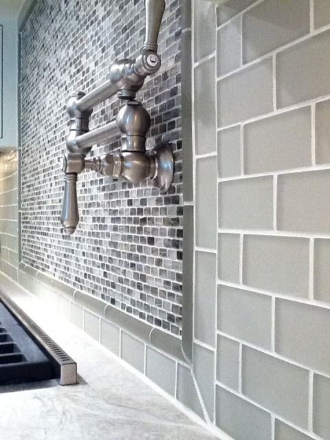 My next house I am doinh this - Smoke grey Glass Subway tile backsplash