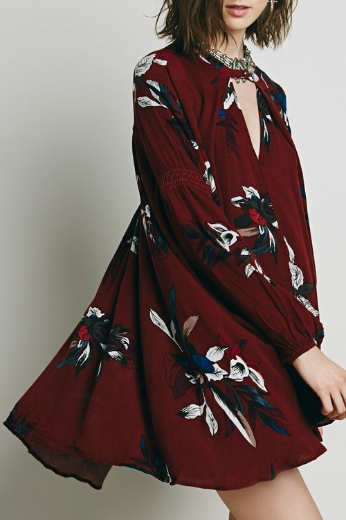 Burgundy Floral Keyhole Neckline Long Sleeve Dress