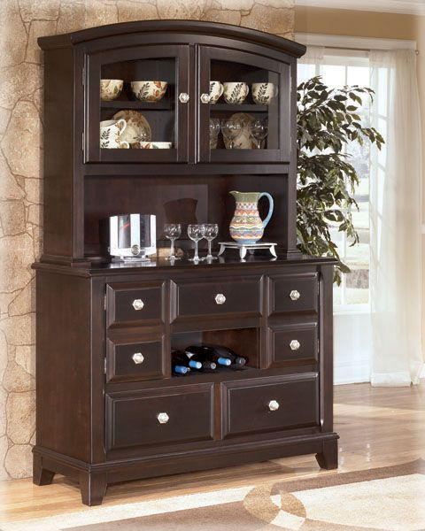 Signature Design By Ashley Ridgley Server And Hutch Cabinet   Godby Home  Furnishings   China Cabinet