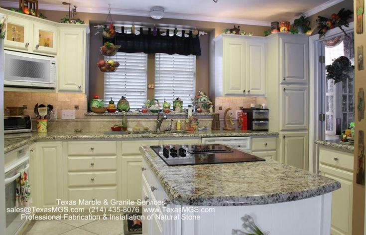 Santa Cecilia Granite Countertops White Cabinets With