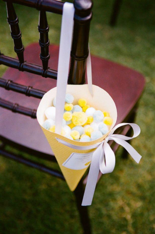 """Pom pom """"confetti"""" for the ceremony recessional"""