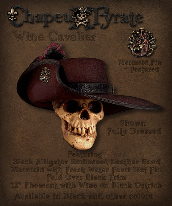 Cavalier Style Hat for Pirates and Renaissance by ChapeuxPyrate, $95.00