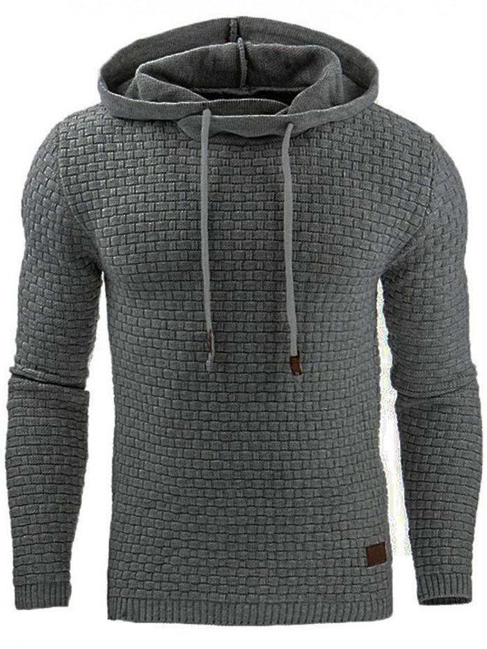 Hooded Lace Up Pullover Slim Solid Color Men's Hoodie