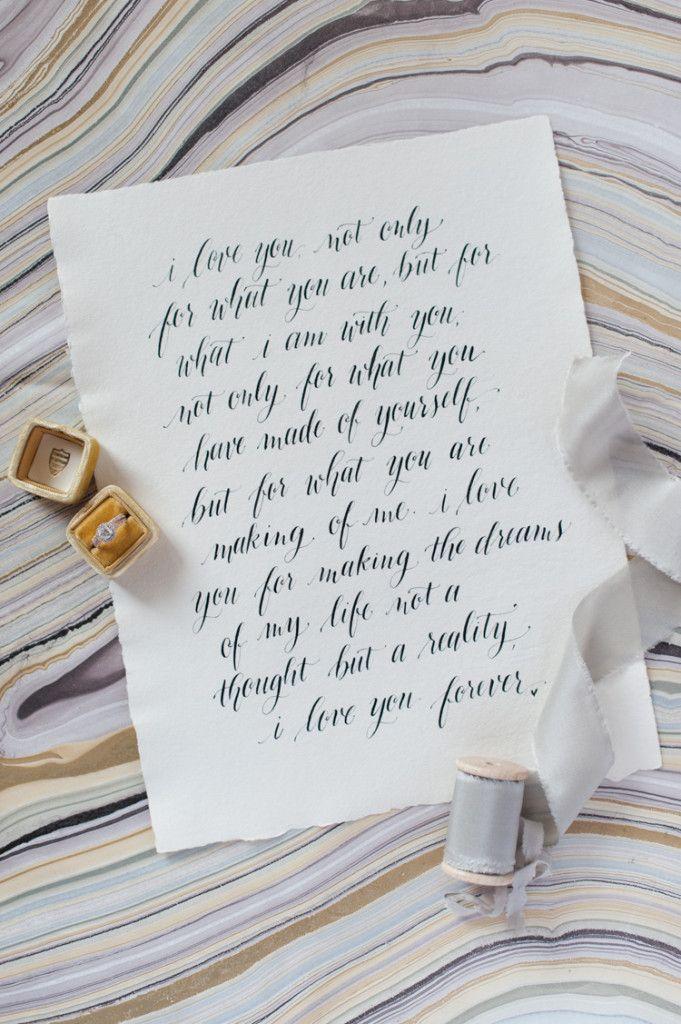 calligraphy wedding vows handwritten wedding invitations Design Roots, agate backdrop, mrs box, frou frou chic Shannon Skloss Photography Dallas + Destination wedding photographer