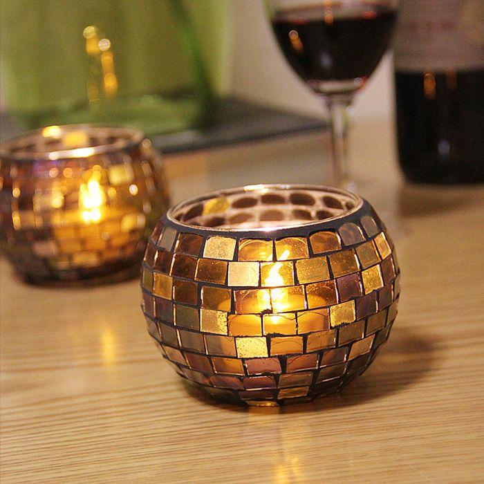 Европейский мозаика стеклянные подсвечники/свечи чашки оформлены свечах/ужин КТВ Бар Украшения подсвечник купить на AliExpress