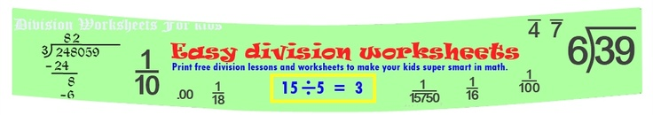 Long Division Worksheets. Easy to follow directions in long division lessons