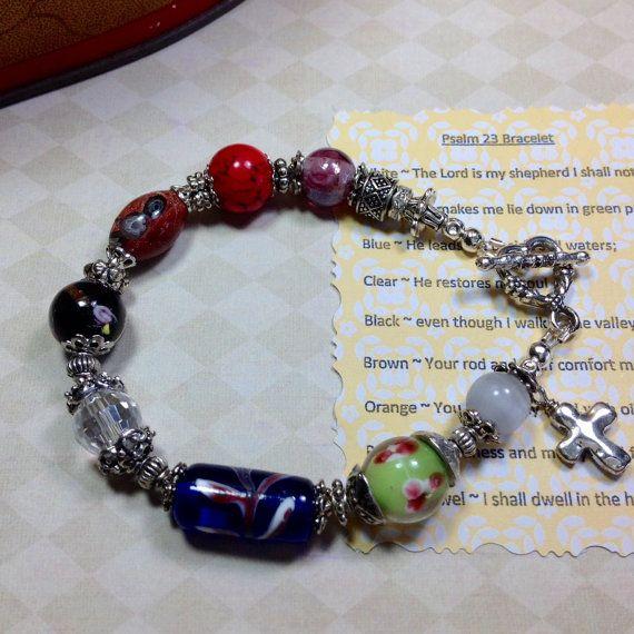 Psalm 23 Bracelet Lampwork Bead Bracelet Beaded by JewelryCharmers