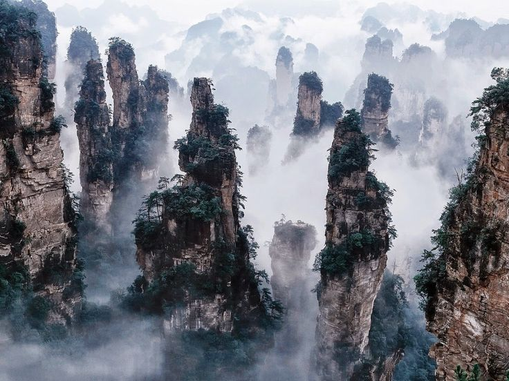 Tianzi (Son of Heaven) Mountains, located in Zhangjiajie in the Hunan Province of China