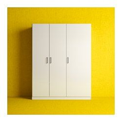IKEA - DOMBÅS, Wardrobe, , Adjustable shelves make it easy to customise the space according to your needs.Adjustable hinges ensure that the doors hang straight.