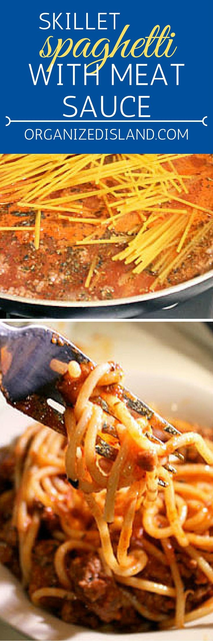 What a quick dinner idea? This skillet spaghetti with meat sauce is ready in 30 minutes and is made in one pan! Super easy and tasty.