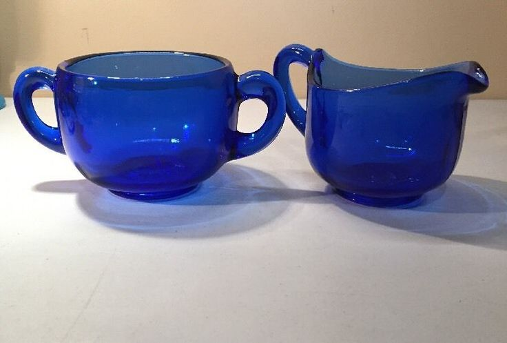 VINTAGE COBALT BLUE GLASS CREAMER & SUGAR STAR BOTTOM ROUNDED #blueglass…