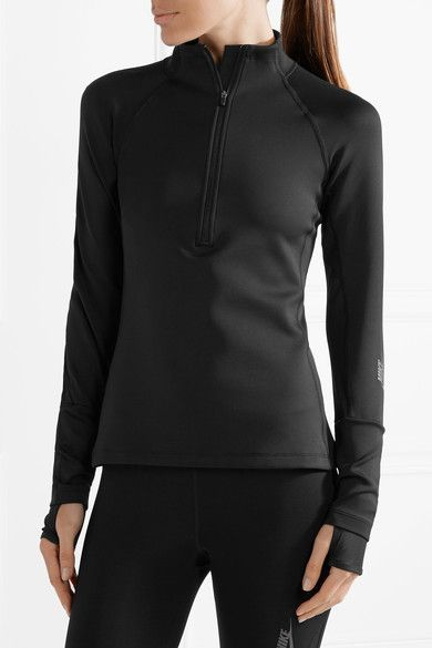 Black stretch-nylon and mesh Zip fastening along front 77% nylon, 23% spandex; trim: 81% polyester, 19% spandex Machine wash