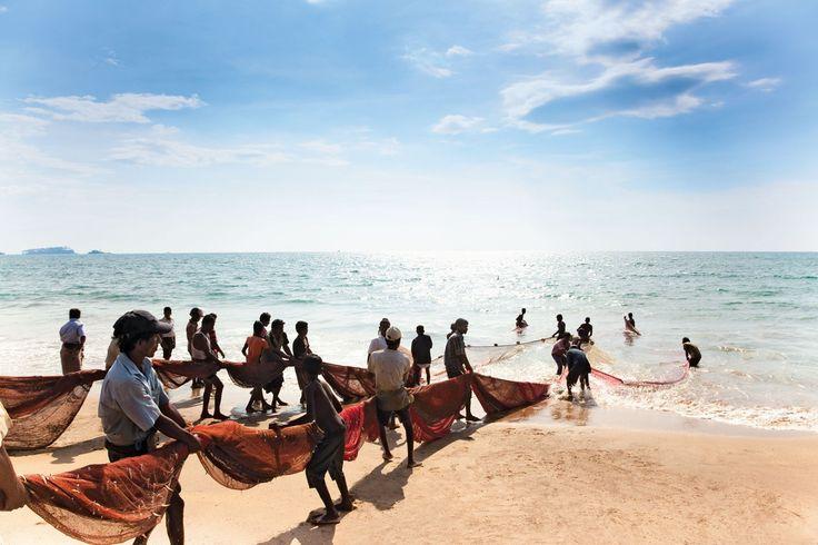 Hauling in fishing nets near The Villa Bentota, Sri Lanka. Photo: David Crookes