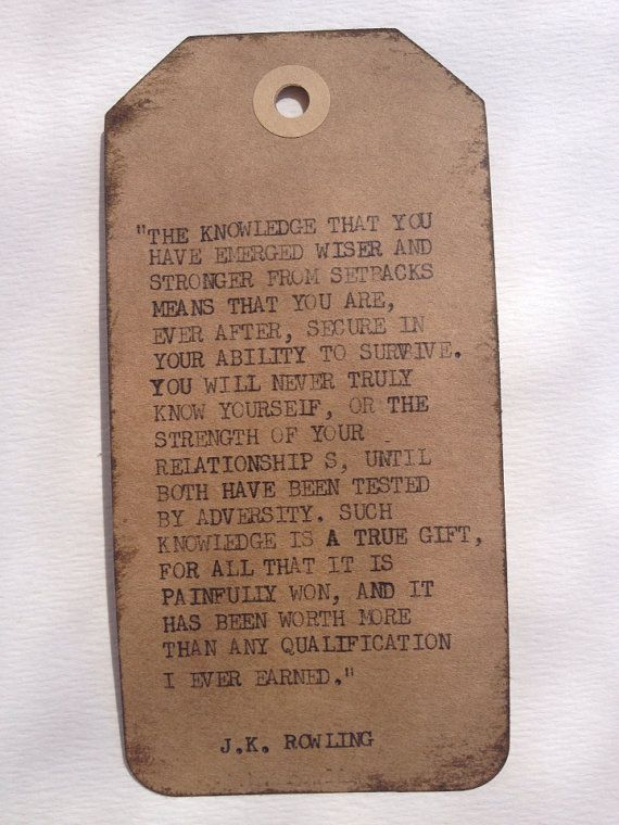 THE J.K. ROWLING: Typewriter quote on 2.5 x 5 tag/bookmark