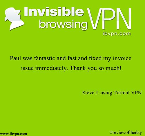 Today's #reviewoftheday comes from Steve. Thank you for the #review and enjoy using ibVPN! #vpn