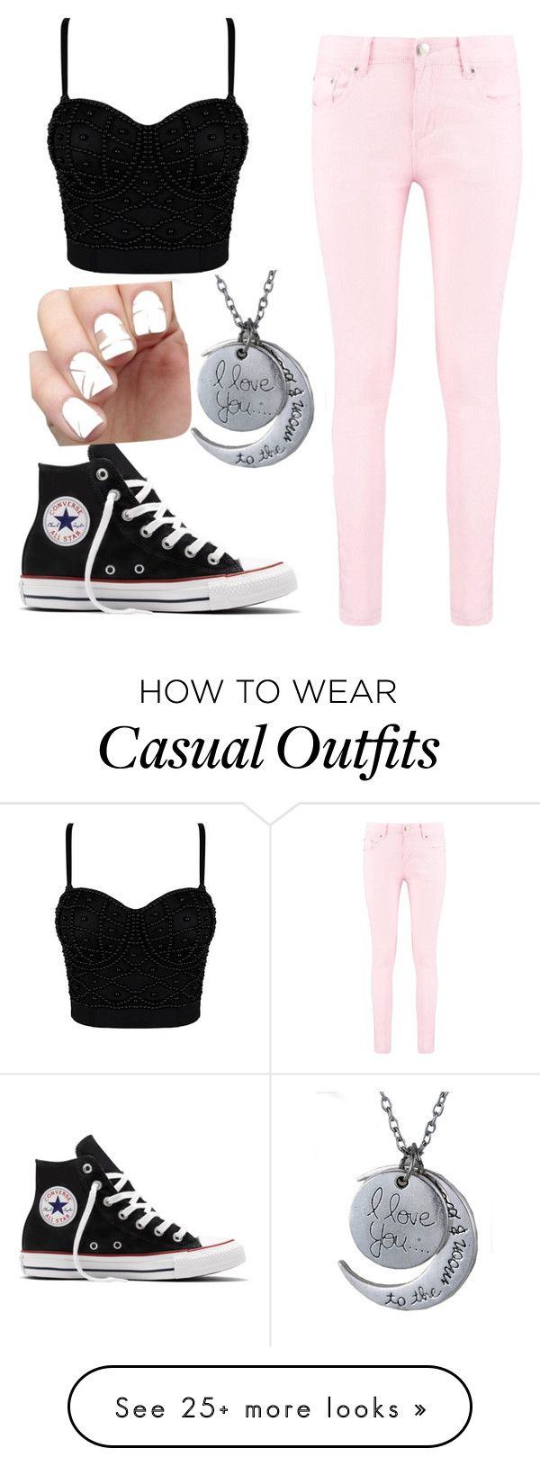 """Casual Beauty"" by honeygoldenerickson on Polyvore featuring Boohoo and Converse"