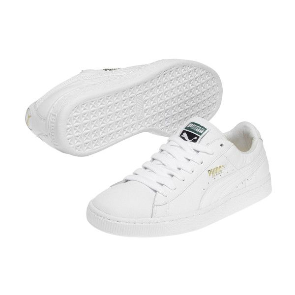 low cost d3988 6c3f6 PUMA White Basket Classic Sneaker ( 39) ❤ liked on Polyvore featuring shoes,  sneakers, urban sneakers, puma shoes, white shoes, white trainers and rubber  ...