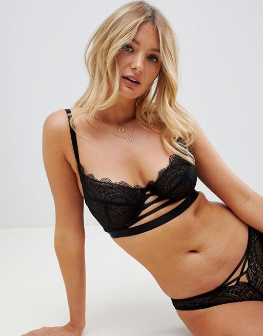 fc49e67446 Wolf   Whistle lace up front longline bra in black