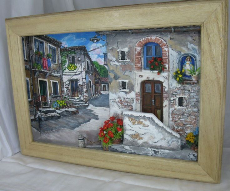Quadretto materico ispirato a due opere del pittore Mangialardi. Dipinto a mano, bassorilievo realizzato con pasta modellabile.