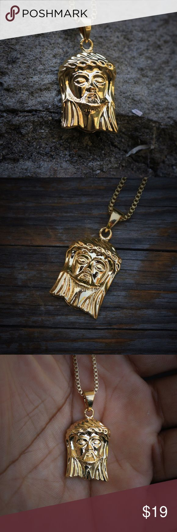 Men's Mini Gold Jesus Piece Necklace Mini Micro Gold Jesus Piece Stainless Steel 18k Gold Plated  ion plating is one of the most advanced surface finishing processes in the trade.  ion plating makes the gold plating more durable, more wear resistant, and also has a higher brightness  Size of the pendant is approximately 1.5 inches tall.  Comes with a 1.5mm width 20 inch length 18k gold plated stainless steel box chain . Ts Verniel Accessories Jewelry
