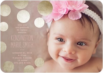 Tiny Prints Birth Announcement with gold metallic polka dots. Perfect for your new baby girl!
