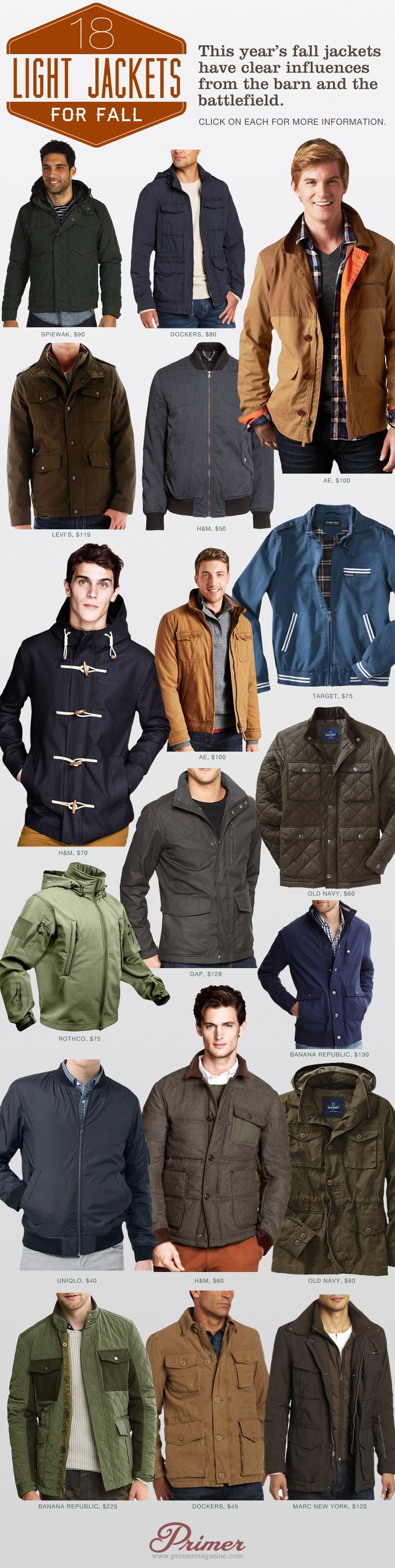 This year's fall jackets have clear influences from the barn and the battlefield.