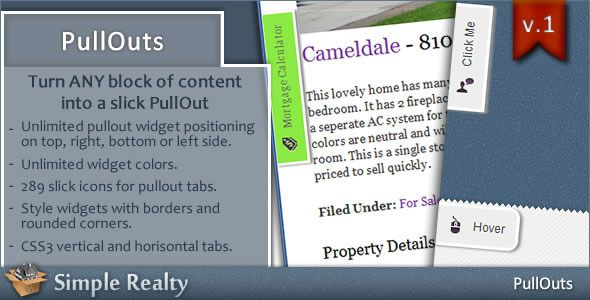 """PullOuts - jQuery Slide-out Widgets . PullOuts is a stand-alone script based on a popular WordPress plugin – """"PullOut Widgets"""", and can be used on any website that supports HTML and"""