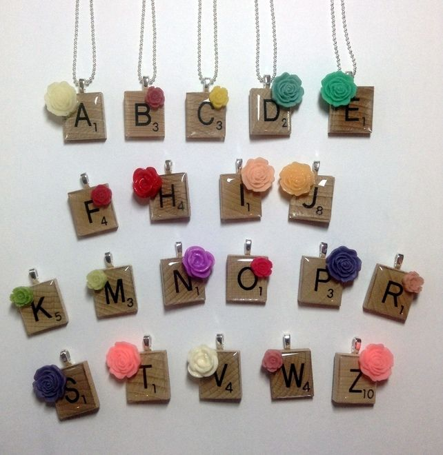 Letter Scrabble Tile Necklace with resin flower and chain £5.00