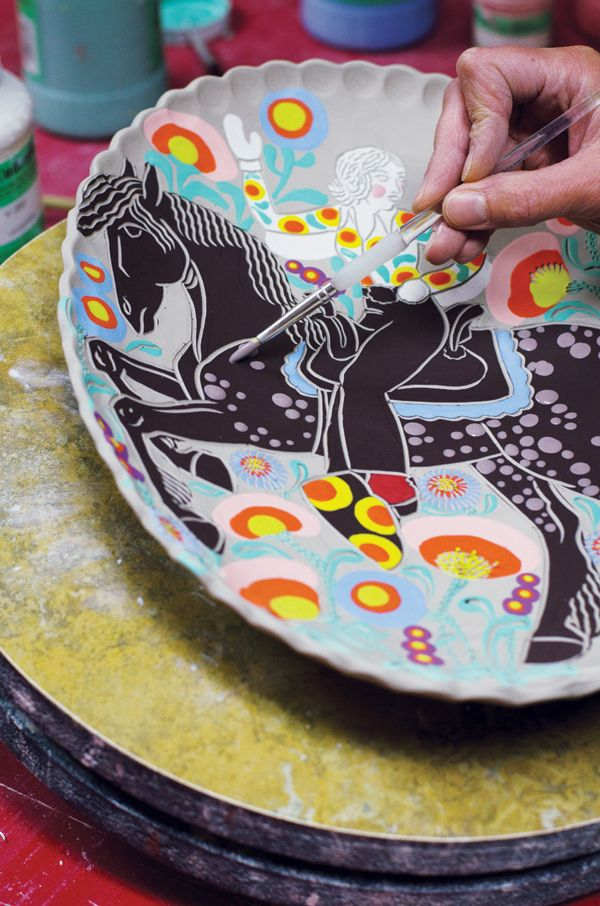 The sgraffito technique is an effective way to make bold lines on clay. Sgraffito is a process in which a surface layer is incised to reveal a ground of co